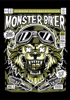 Illustration de couverture de bande dessinée de monstre de loup