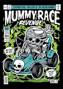 Illustration de la couverture de la bande dessinée mummy car racer