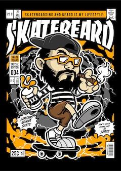 Illustration de couverture de bande dessinée de patineur de barbe