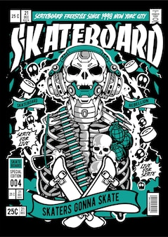 Illustration de couverture de bande dessinée de robot de guerre de crâne