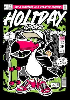 Illustration de couverture de bande dessinée de vacances flamingo