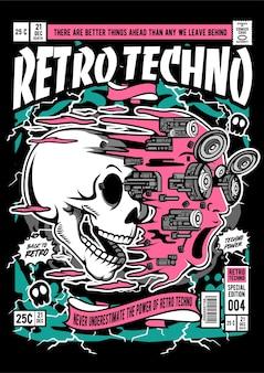 Illustration de couverture de bande dessinée de visage de crâne