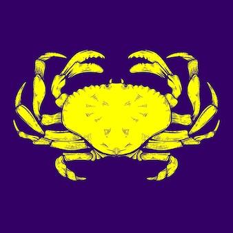 Illustration de crabe pour le logo de fruits de mer