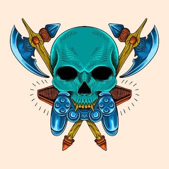 Illustration de crâne et d'arme de jeu de conception de chemise colorée