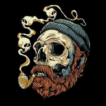 Illustration de crâne de bûcheron