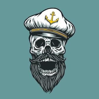 Illustration De Crâne De Capitaine Vecteur Premium