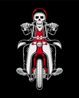 Illustration de crâne de cavalier de moto classique personnalisé