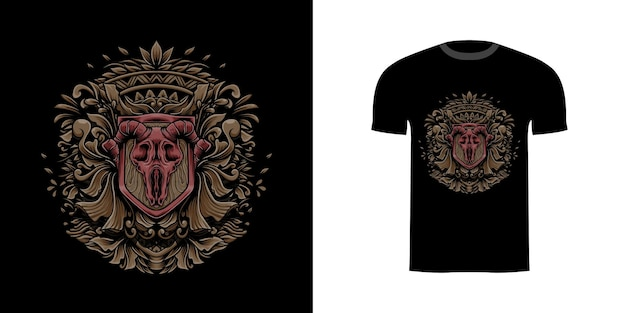 Illustration crâne de chèvre avec gravure onament pour la conception de tshirt