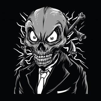 Illustration de crâne chic noir et blanc