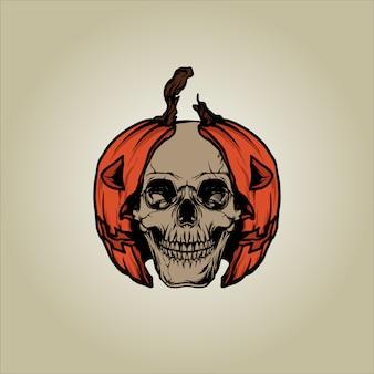 Illustration de crâne de citrouille