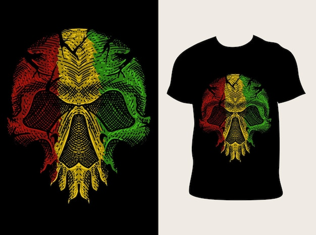 Illustration crâne couleur reggae avec conception de t-shirt