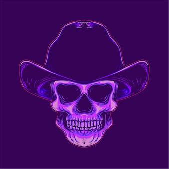 Illustration de crâne de cowboy souriant