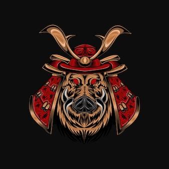 Illustration de crâne de diable samouraï ronin avec armure mecha