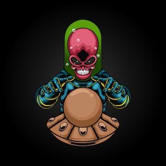 Illustration de crâne extraterrestre diseuse de bonne aventure