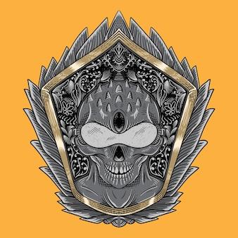 Illustration de crâne extraterrestre humanoïde