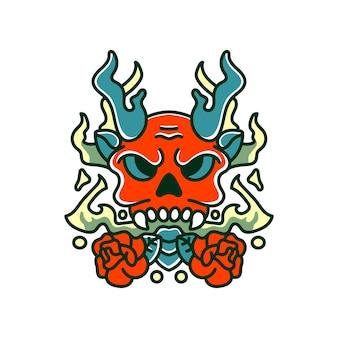 Illustration de crâne fantôme avec style vintage rose