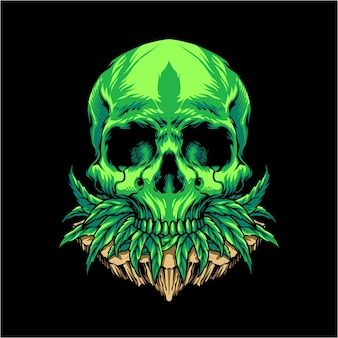 Illustration de crâne de feuille