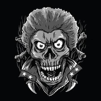 Illustration de crâne funky noir et blanc