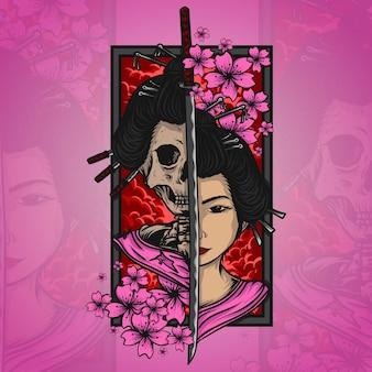Illustration de crâne geisha