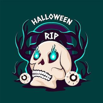 Illustration de crâne halloween plat dessiné à la main