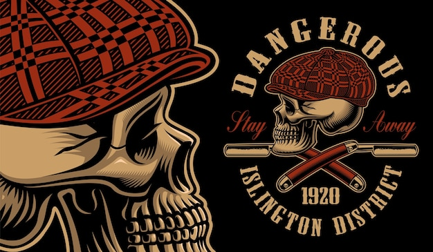 Illustration d'un crâne d'intimidateur avec les rasoirs droits. pour les t-shirts. tous les éléments, couleurs, texte sont sur les groupes séparés.