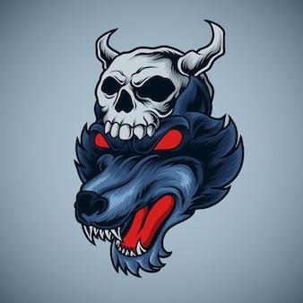 Illustration de crâne de loup