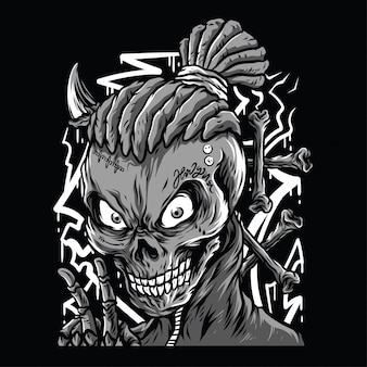 Illustration de crâne marmonner noir et blanc