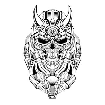 Illustration de crâne mecha