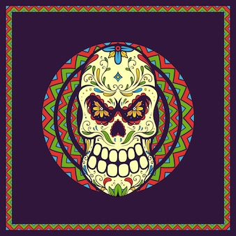 Illustration crâne mexicain jour des morts, dia de los muertos