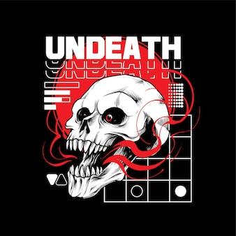 Illustration de crâne mort-vivant, parfaite pour la conception de t-shirts, de vêtements ou de marchandises
