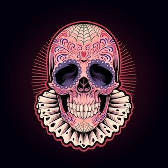 Illustration de crâne muertos de dia de los muertos