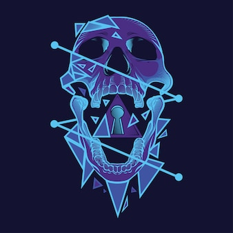 Illustration de crâne de néon et conception de tshirt