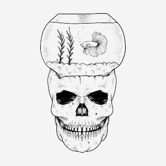 Illustration de crâne et de poisson betta