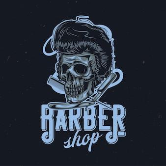 Illustration de crâne, rasoir et peigne poilu