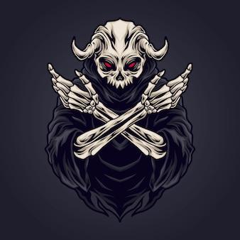 Illustration de crâne reaper
