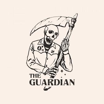 Illustration de crâne ripper dessinés à la main
