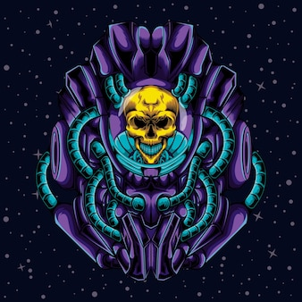 Illustration d'un crâne avec un robot dans l'espace
