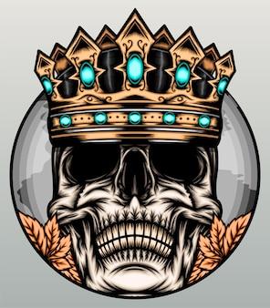 Illustration de crâne de roi génial.