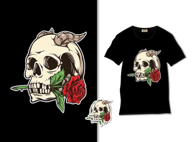 Illustration de crâne et rose