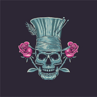 Illustration de crâne avec rose