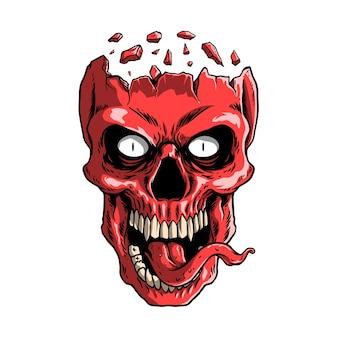 Illustration de crâne rouge