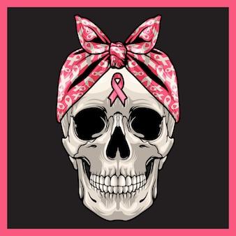 Illustration d'un crâne avec ruban de sensibilisation.