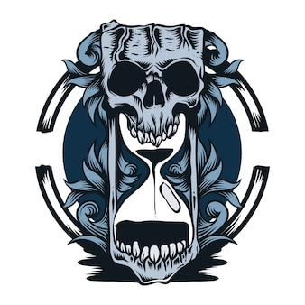Illustration de crâne et sablier