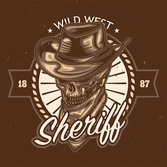 Illustration de crâne de shérif
