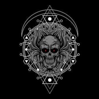 Illustration de crâne sombre avec la géométrie sacrée
