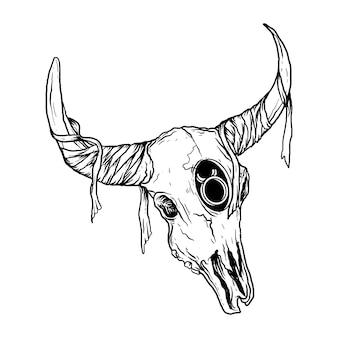Illustration de crâne de taureau noir et blanc dessiné à la main