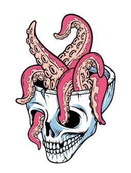 Illustration de crâne et tentacules