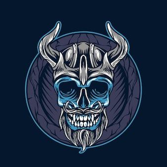 Illustration de crâne viking