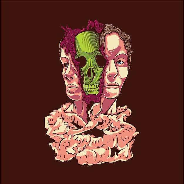Illustration de crâne de visage de split