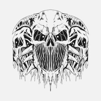 Illustration de crânes tête tête